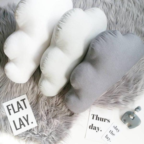 Standard Cloud Cushions - White, Light Grey & Dark Grey on faux fur grey rug
