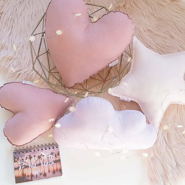 Medium Dusty Pink Heart Cushion, Small Dusty Pink Heart Cushion, Medium Baby Pink Star Cushion, Medium Lilac Cloud Cushions on blush faux fur rug