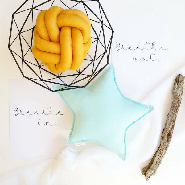 Small Mustard Knot Cushion, Medium Aqua Star Cushion
