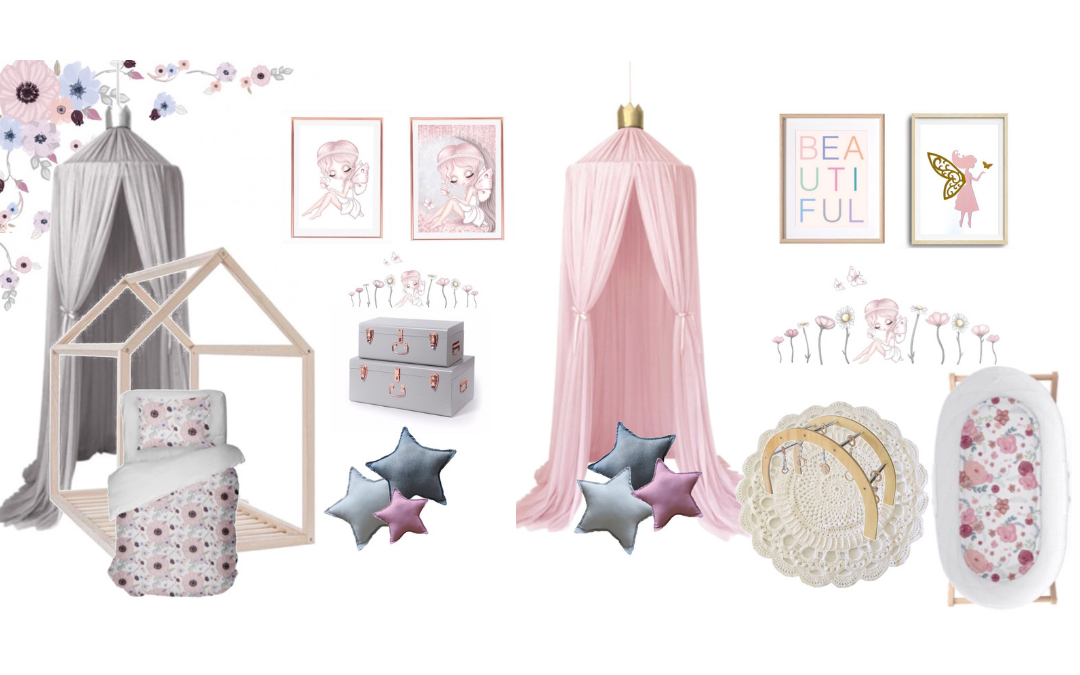 Mood Boards Inspiration - girls bedroom and nursery - house bed, bassinet, wooden play gym, canopy, star cushions, wall decals, fairy artwork, crochet rug