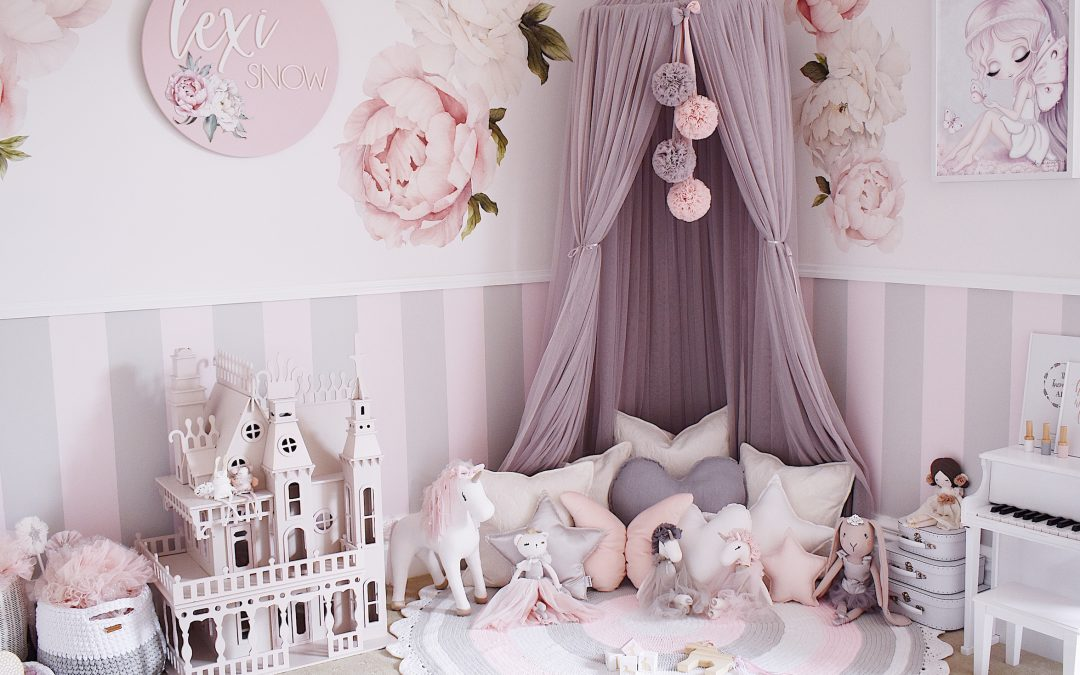 Girls Room in pink, white and grey - Canopy, floral decals, wooden name plaque, dolls house, kids piano, reading nook including Standard White Star Cushion, Medium White Heart Cushion, Small Baby Pink Star Cushion - image @pretty.playful.styling
