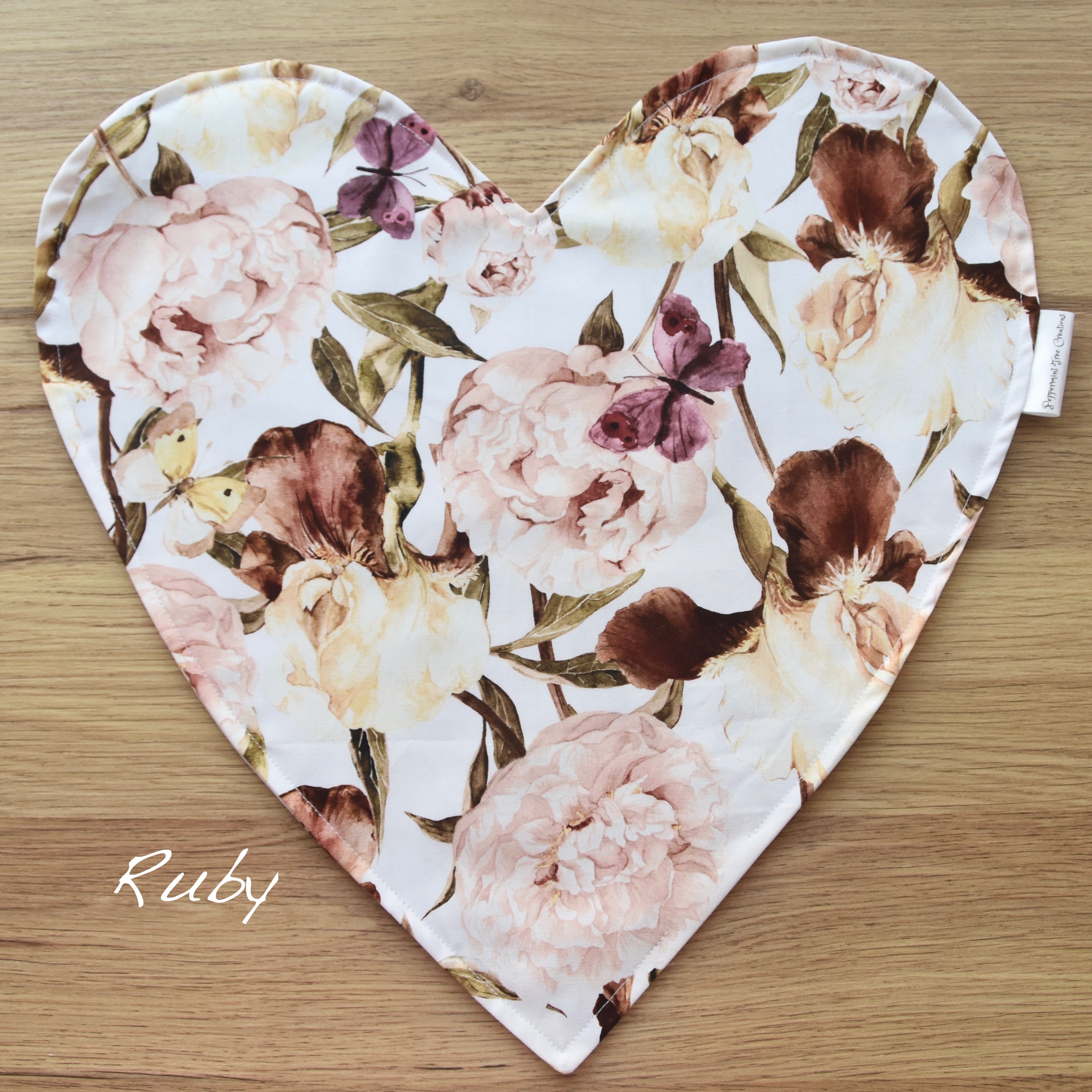 Heart Cushion in limited release fabric - Ruby