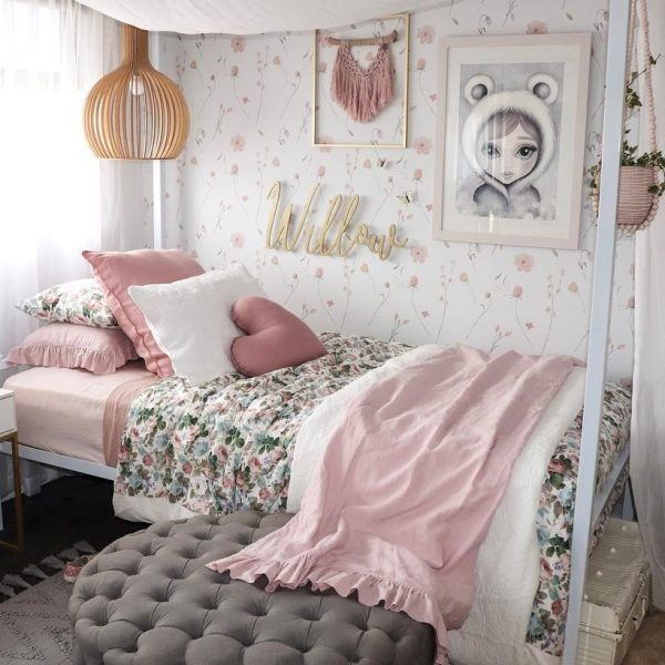 Enchanted Girls Bedroom - Floral Bedding, Pink Ruffle Blanket, Gold Name Plaque, Eskimo Girl Artwork, Standard Dusty Pink Heart Cushion