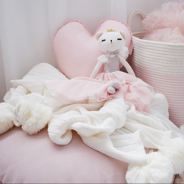 Girls Room - Cushion Nook with floor cushion, blankets, soft toy, basket and medium baby pink heart cushion