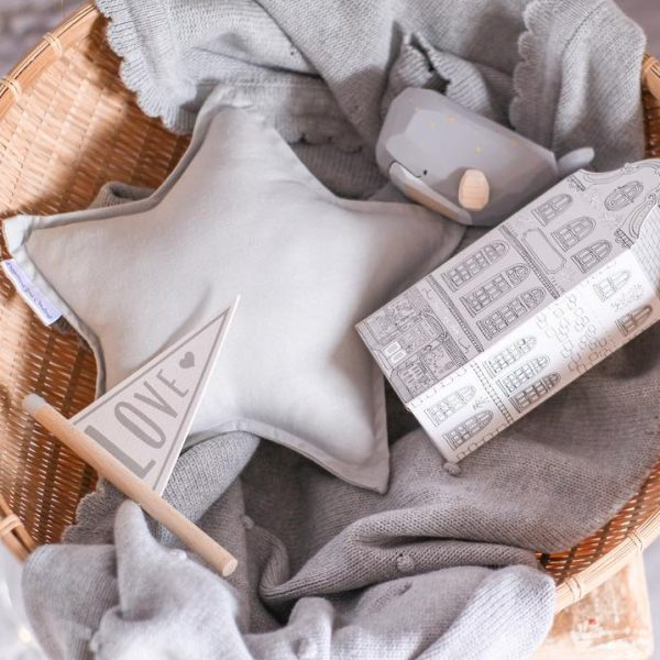 Closeup Image - Basket with Blanket, small house decor piece, small wooden whale, small light grey star cushion
