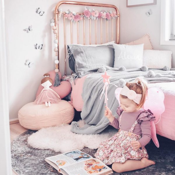 Girls Bedroom in Dusty Pink and Grey - Rose Gold Bed, Floor Cushion, Little Girl with Fairy Wings and Wand and Standard Dusty Pink Heart