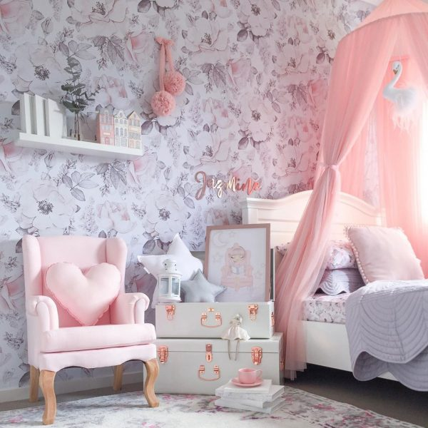Girls Bedroom in Pink, White and Grey - Floral Wallpaper, Canopy, Bed, Chair and Original Cushion Combo Pack including Standard White Star, Medium Baby Pink Heart and Small Light Grey Star Pillows