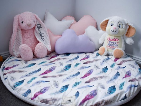 Girls Playmat with feather print - personalised stuffed toys and Standard White Star, Standard Baby Pink Heart, Small White Heart, Small Baby Pink Star and Medium Lilac Cloud Cushions