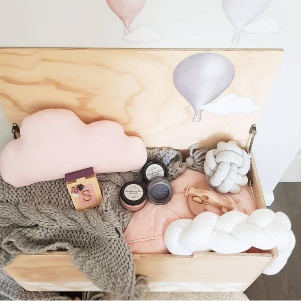 Girls Toy Box with Pink and Grey Blankets, Knot Pillows, Playdough, Wooden Decor Pieces and Standard Baby Pink Cloud Pillow