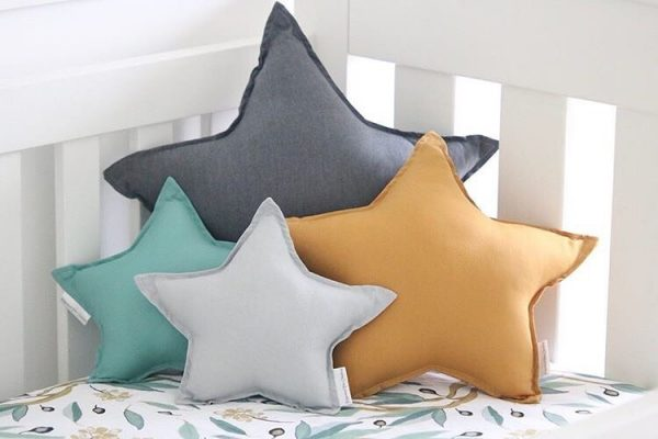 Gender Neutral Cot Setup - Gum Leaf Cot Sheet - Standard Dark Grey, Medium Mustard, Small Light Grey and Sage Star Pillows