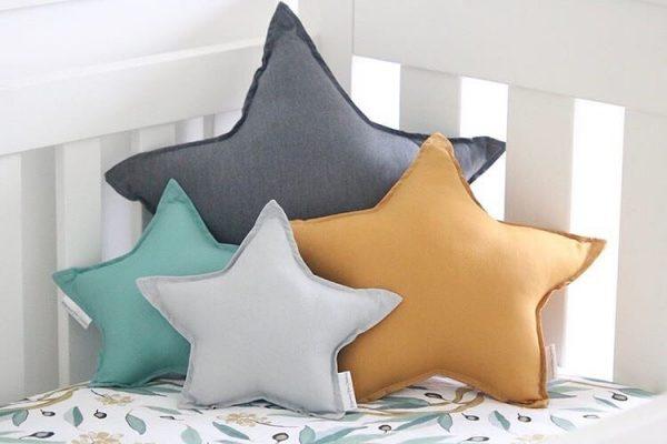 Gender Neutral Cot Setup - Gum Leaf Cot Sheet - Standard Dark Grey, Medium Mustard, Small Light Grey and Sage Star Pillows