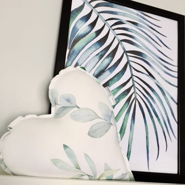 Shelf with Fern Print in frame and Limited Release Heart Pillow in Leaves Print