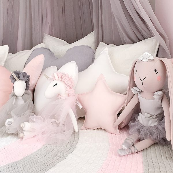 Girls Reading Nook - Pink, Grey and White Crochet Rug on floor with grey canopy, unicorn and rabbit soft toys plus Original Cushion Combo Pack (Standard White Star, Medium White Heart and Small Baby Pink Star)