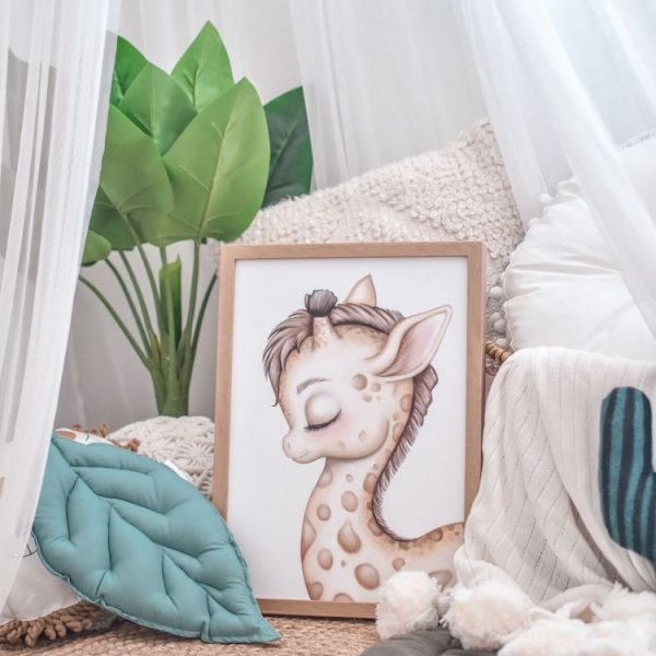 Reading Nook Setup - Fake Plant, White Canopy, Cushions, Jute Rug, Giraffe Print, Pom Pom Blanket, Leaf Playmat and Leaf Cushion