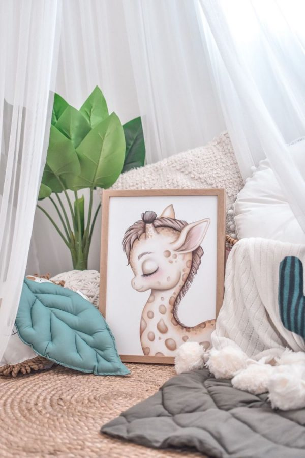 Reading Nook Setup - Fake Plant, White Canopy, Cushions, Jute Rug, Giraffe Print, Pom Pom Blanket, Leaf Playmat and Leaf Cushion