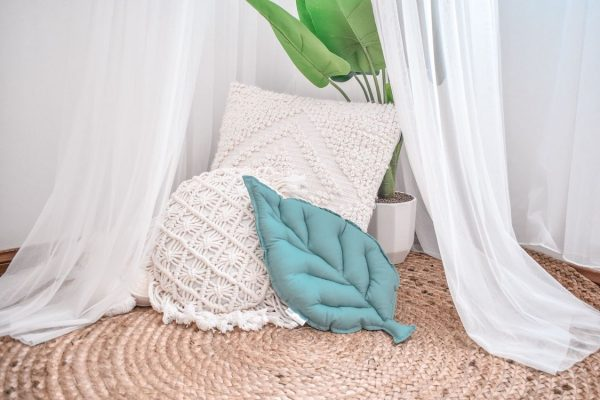 White Canopy with Cushions, Fake Plant, Jute Rug and Sage Leaf Cushion