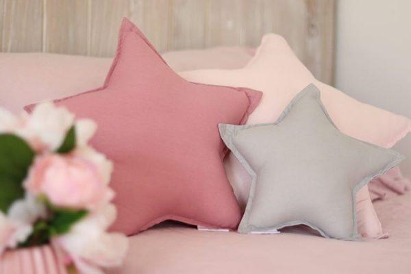 Stockist Information Photo - Closeup Photo of Star Cushions - Standard Baby Pink Star, Medium Dusty Pink Star, Small Light Grey Star