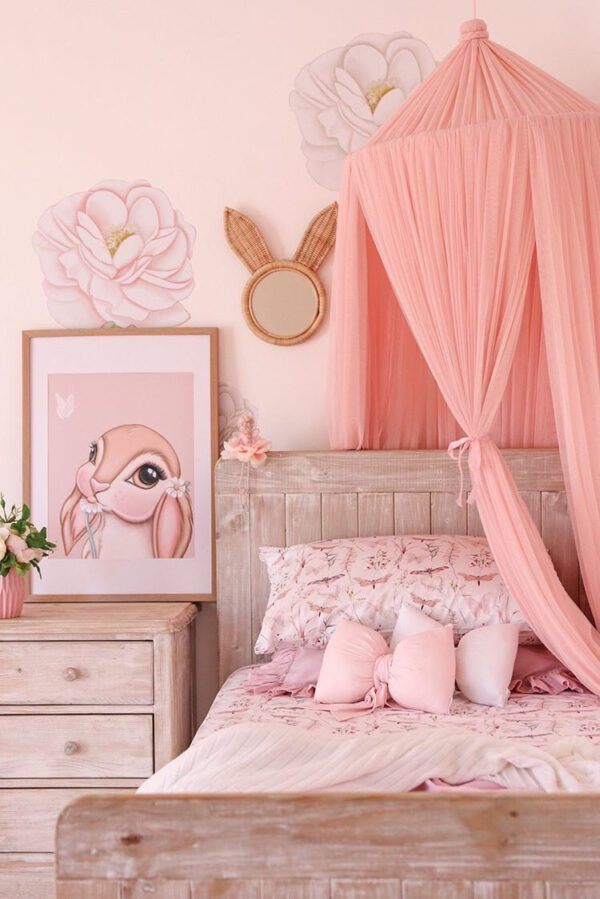 Girls Bedroom Corner Setup - Bed with Floral Linen, Canopy, Floral Wall Decals, Bunny Art Print and Baby Pink and White Bow Pillows