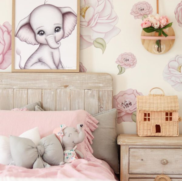 Girls Bed with Pink Ruffle Linen, Rattan Dollhouse on bedside drawers, Elephant Print on Wall, Floral Wall Decals, Elephant soft toy and Light Grey and White Bow Cushions