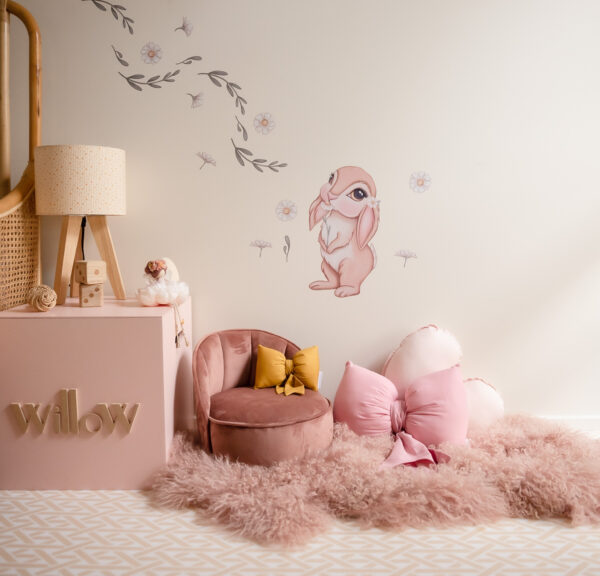 Girls Room - soft playmat, dusty pink faux fur rug, personalised cube toy box, Bunny and Daisy Wall Decals, Bedside Lamp on Cube, Mustard Dolls Bow, Rose Pink Bow and Medium Baby Pink Heart Cushion